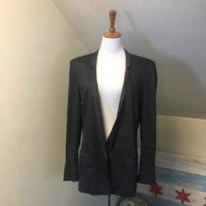 Helmut Lang Charcoal Grey Linen Blazer #11001
